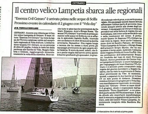 Il Centro Velico Lampetia sbarca alle regionali Dal Quotidiano del Sud 14 maggio 2018