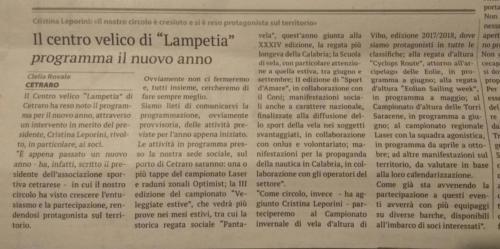 Presentazione programma provvisorio attività sociale 2018 La Provincia di Cosenza del 22 gennaio